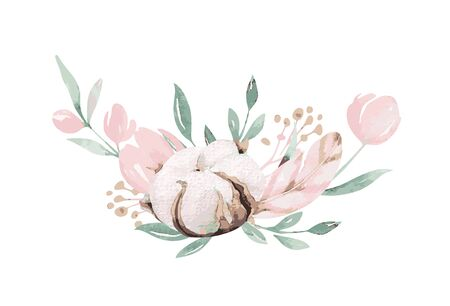 Illustration pour Spring bird on blooming branch with green leaves and flowers. Watercolor wedding invitation card blossom painting. Hand drawn pink wreath design. Cherry isolated - image libre de droit