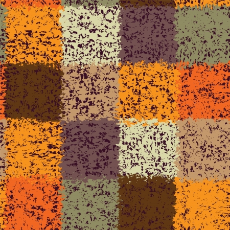 Grunge stained quilt colorful seamless pattern with square elements