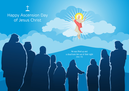 Illustration pour An illustration of the ascension of Jesus Christ with His Disciples - image libre de droit