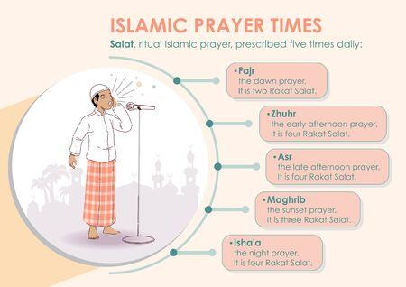 Illustration pour Islamic prayer times infographic with bubbles. Infographic template - image libre de droit