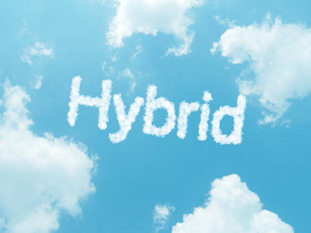 hybrid cloud word with design on blue sky background