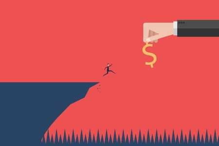 Business finance concept. businessman run to money on edge of cliff metaphor of cheat and tra. Vector illustration flat design