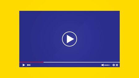 Illustration pour Mockup Video Player Template Design. Social media live stream window, player concept - image libre de droit