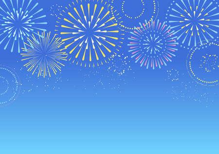 Illustration for Background illustration of fireworks in the blue sky - Royalty Free Image