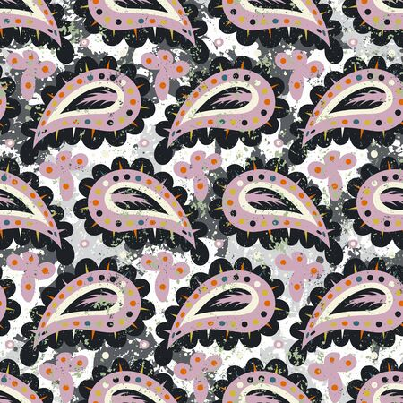 Hand drawn paisley vector seamless pattern with brush strokes and paint splash design.