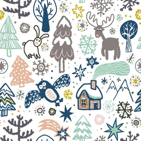 Illustration for Vector cute pattern with forest animals and birds. - Royalty Free Image