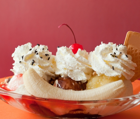 banana split ice cream on the restaurant table