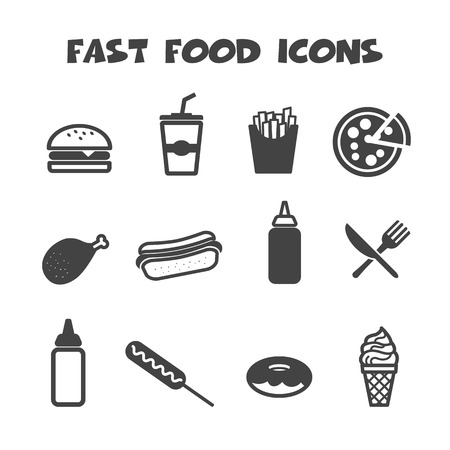 Illustration for fast food icons, mono vector symbols - Royalty Free Image