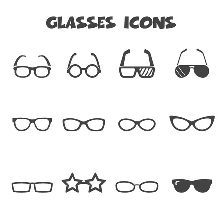 glasses icons, mono vector symbols