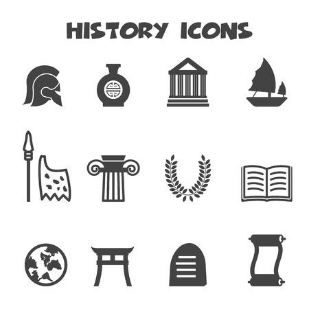 history icons, mono vector symbols