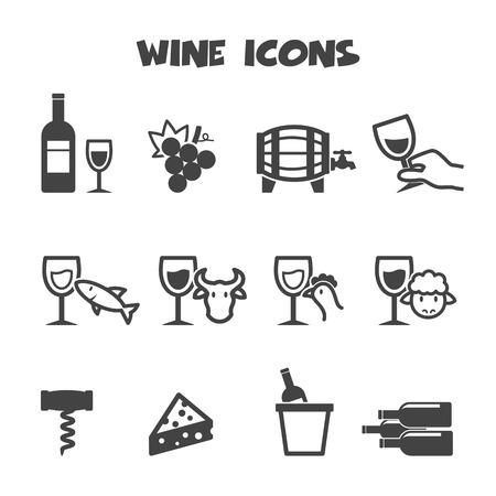 wine icons, mono vector symbols