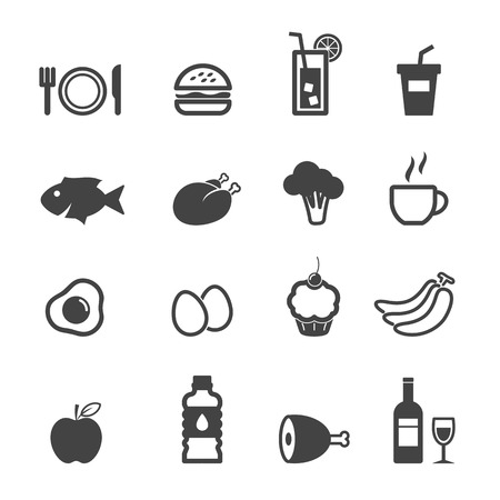 food and beverage icons, mono symbolsのイラスト素材