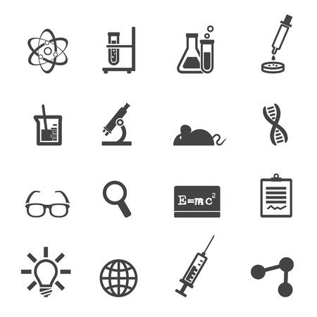 Ilustración de science and laboratory icons, mono vector symbols - Imagen libre de derechos