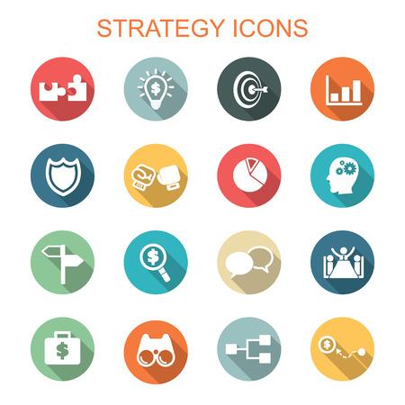 Ilustración de strategy long shadow icons, flat vector symbols - Imagen libre de derechos