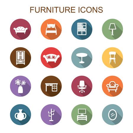 furniture long shadow icons, flat vector symbols
