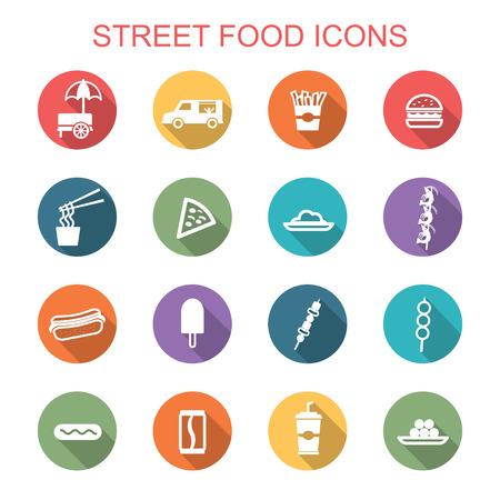 street food long shadow icons, flat vector symbols