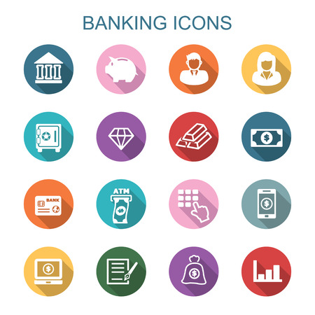 banking long shadow icons, flat vector symbols
