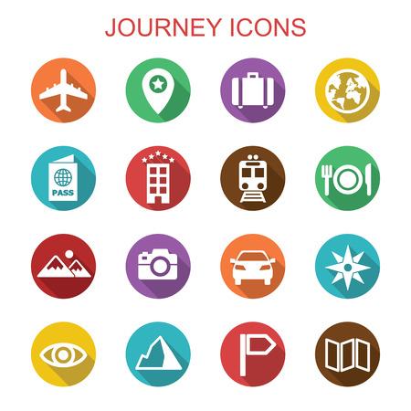 Illustration pour journey long shadow icons, flat vector symbols - image libre de droit