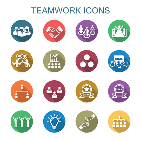 Illustration for teamwork long shadow icons, flat vector symbols - Royalty Free Image