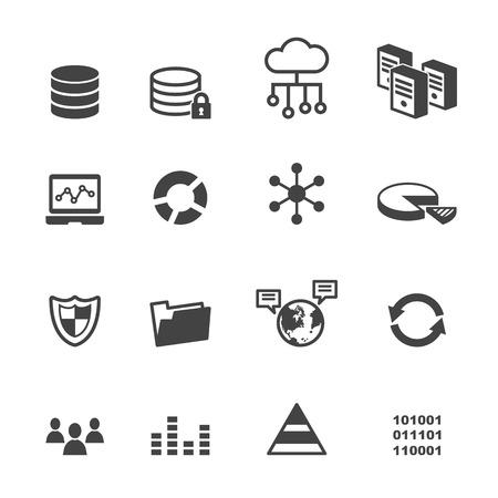 data icons, mono vector symbols