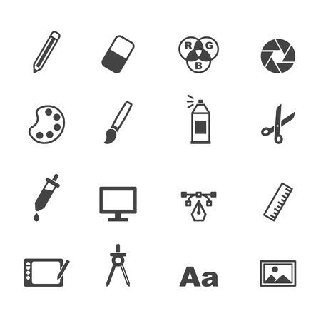 graphic design icons, mono vector symbols