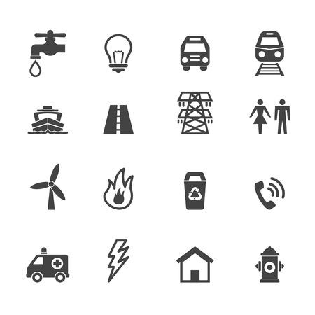 public utility icons, mono vector symbols
