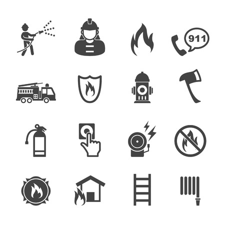 firefighter icons, mono vector symbols