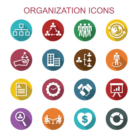 Foto de organization long shadow icons, flat vector symbols - Imagen libre de derechos