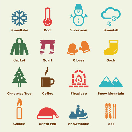 winter elements, vector infographic icons