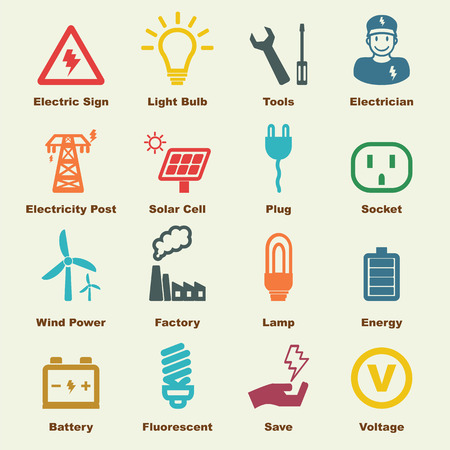 electricity elements, vector infographic icons
