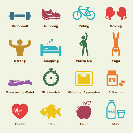 Illustration for healthy elements, infographic icons - Royalty Free Image