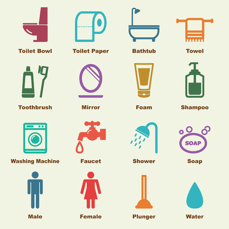 bathroom elements, vector infographic icons