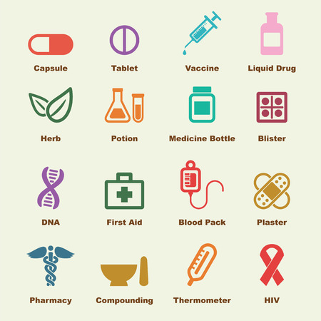medicine elements, vector infographic icons