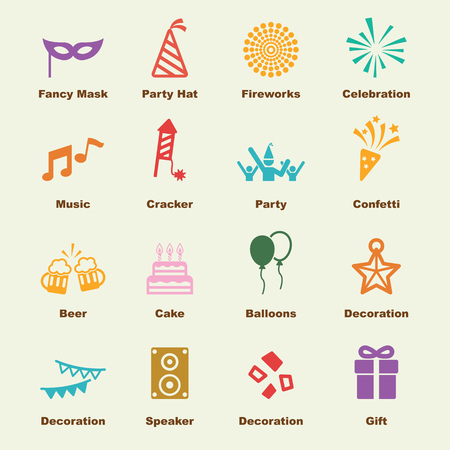 celebration elements, vector infographic icons