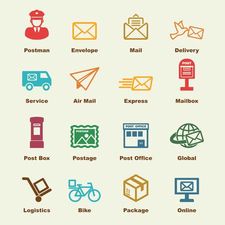 Illustration pour post service elements, vector infographic icons - image libre de droit