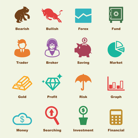 stock market elements, vector infographic icons