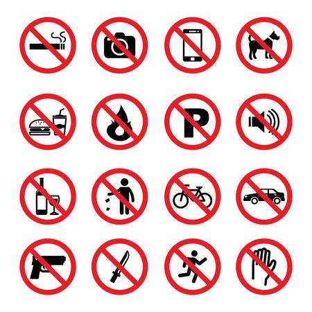set of prohibition sign, vector symbols