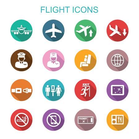 Ilustración de flight long shadow icons, flat vector symbols - Imagen libre de derechos