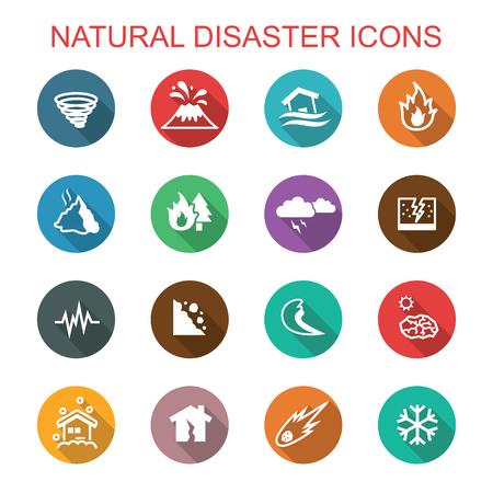 Ilustración de natural disaster long shadow icons, flat vector symbols - Imagen libre de derechos