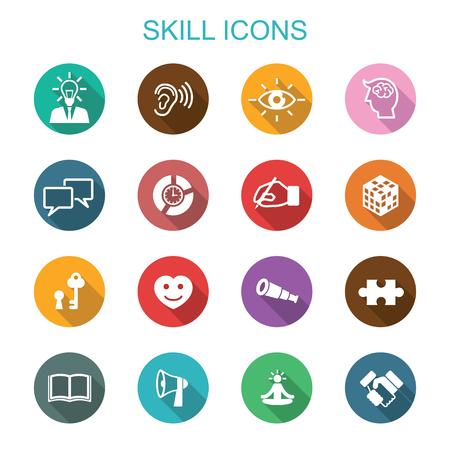skill long shadow icons, flat vector symbols