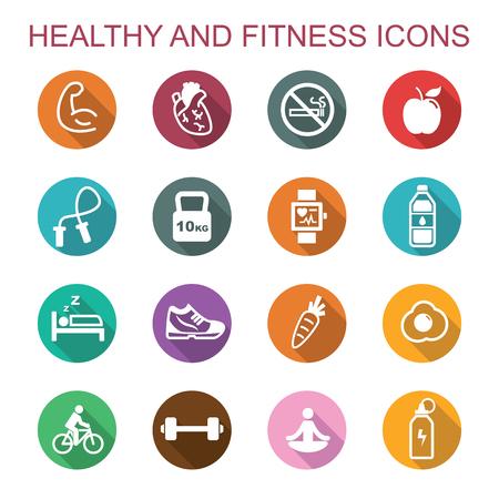 Vektor für healthy and fitness long shadow icons, flat vector symbols - Lizenzfreies Bild