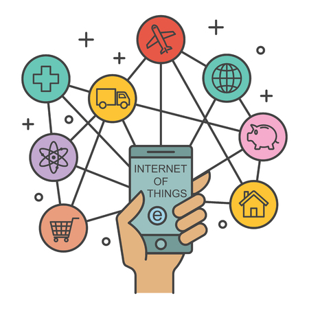 internet of things, technology concept, vector outline design