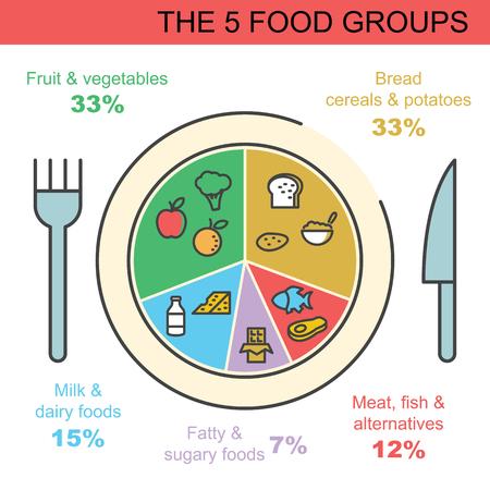 Ilustración de the 5 food groups, vector outline infographics design - Imagen libre de derechos