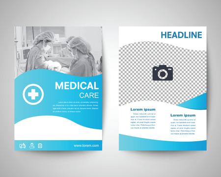 Vektor für blue medical flyer template, brochure background, leaflet with cover, vector design in a4 size for business - Lizenzfreies Bild