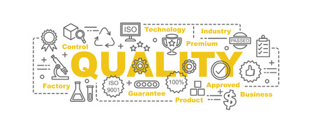 Illustration pour quality control vector banner design concept, flat style with thin line art quality icons on white background - image libre de droit