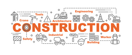 Photo for construction vector banner design concept, flat style with thin line art construction icons on white background - Royalty Free Image
