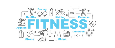 Foto de fitness vector banner design concept, flat style with thin line art icons on white background - Imagen libre de derechos