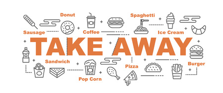 Illustration pour take away food vector banner design concept, flat style with icons - image libre de droit