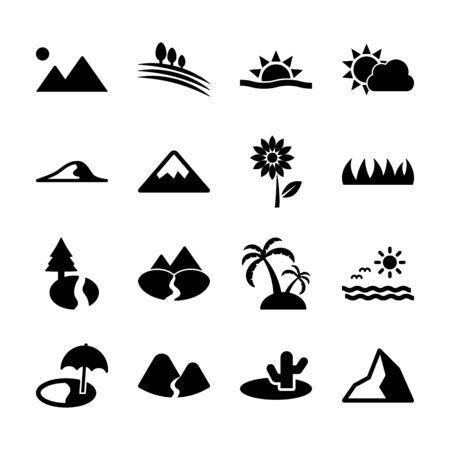 Illustration for landscape solid icons vector design - Royalty Free Image