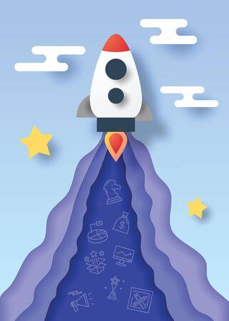 Illustration pour rocket startup paper cut style vector design - image libre de droit